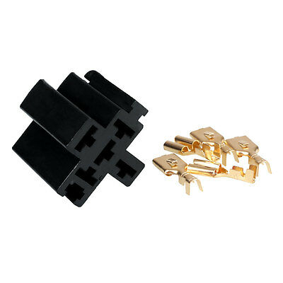 1Set Car Vehicle 5 Pin Relay Socket Holder with 5Pcs 6.3mm Copper Terminal
