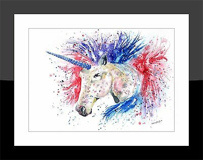 SkinnyDaz- A4/A3 Art Print from Original Watercolour Unicorn Painting