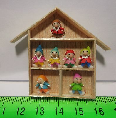Handmade Clay Figures (7) In A Wooden various styles Frame Dolls House Miniature