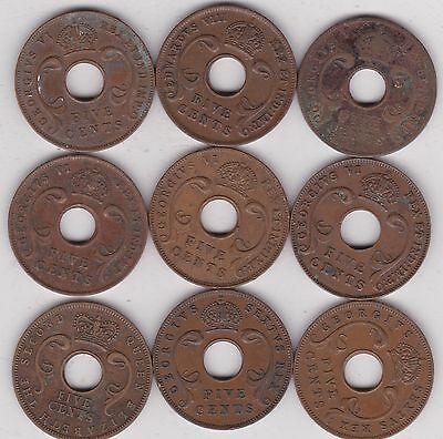 Nine 5 Cent Coins From East Africa Dated 1933 To 1957
