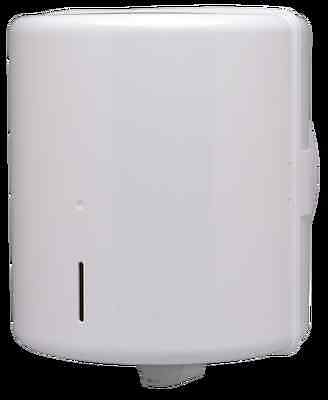 Centrefeed paper roll dispenser - White ABS plastic, lockable