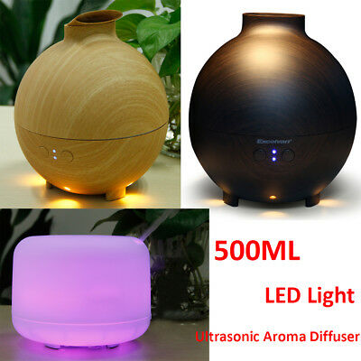 500ML LED Aroma Aromatherapy Diffuser Essential Oil Ultrasonic Air Mist Purifier