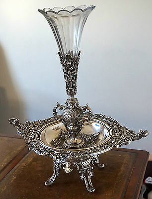 Antique Silver Gilded Bronze Centrepiece & Vase Art Deco Period