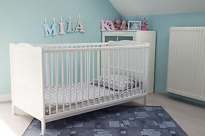 White Cot Bed with Cotbed SPRUNG Mattress, Converts into a Junior Bed