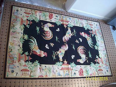 Genuine Handmade Oriental Needle Point Rooster Rug, Made in China