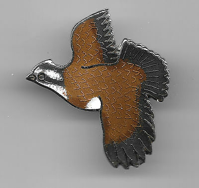 Vintage Flying Quail old cloisonne pin