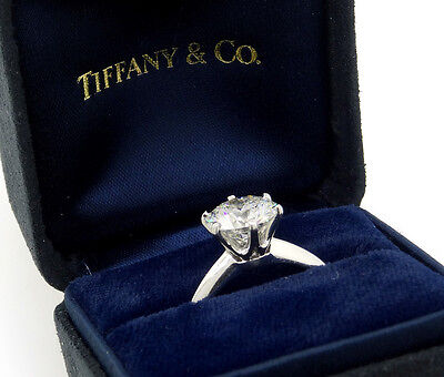 Tiffany & Co. GIA Solitaire Engagement Ring, Platinum Ring w Certified 2.21ct