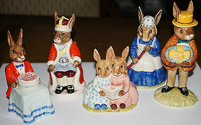 Set of 5 Vintage Royal Doulton BunnyKins Figurine Collection in Porcelain
