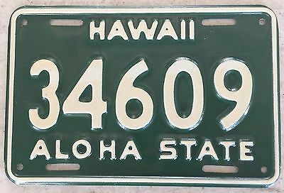 1961 Green Hawaii Aloha State Authentic Motorcycle License Plate Mint #34609