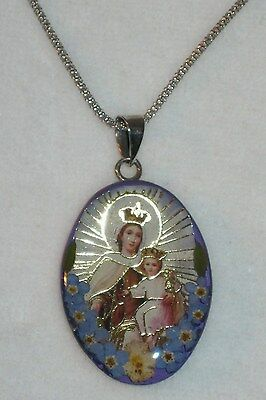 Virgin Mary Pendant Necklace -Sterling Silver Glass Dome - w/Tags -18""
