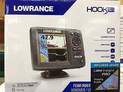 Lowrance Hook 5, Mid/high/downscan, Lake Insight With Sun Cover,000-12656-002