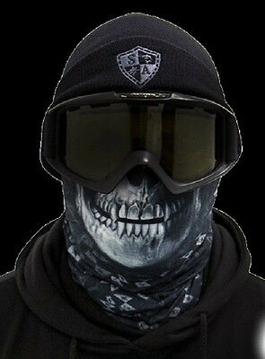 Salt Armour Raven Skull Frost Tech Thermal Fleece Face Shield Balaclava USA