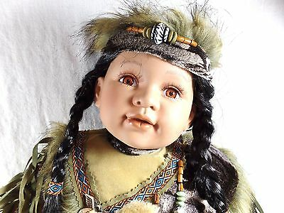 "Cathay 24"" Native American Indian Porcelain Girl Doll Chenoa 294/5000 Bear rug"