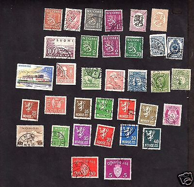 Sweden, Norway, Finland,  Lot Used Stamps