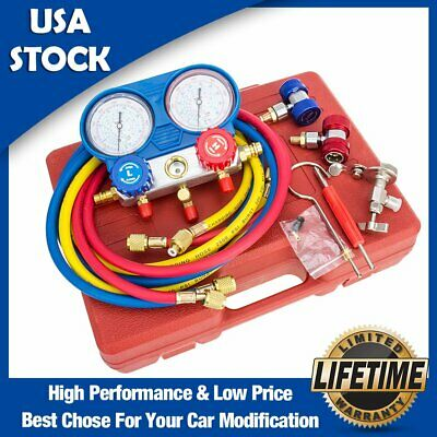 New AC Refrigeration Kit A/C Manifold Gauge Set Air R12 R22 R134a 410a R404z US