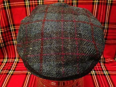 Harris Tweed Mens Flat Cap Elasticated One Size For Small Head 55-56Cm Stretch
