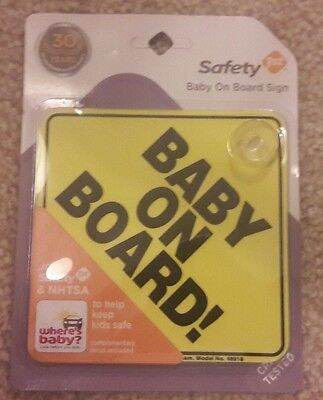 """Baby On Board Sign Car Safety 1st 5""""x5"""" Suction Cup Yellow #j"""