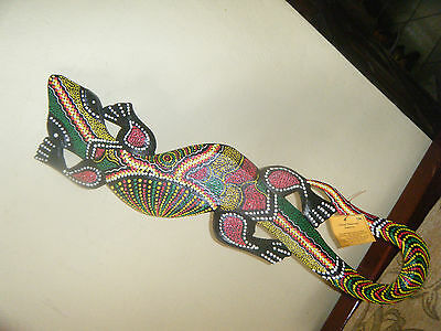 Lizard Ground Rasta Colors Wall Decor Handmade Size 19x4 Inches Approxl