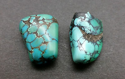 Matched Pair Antique Tibetan Turquoise Stone Beads 12 Grams - 300+ Years Old -