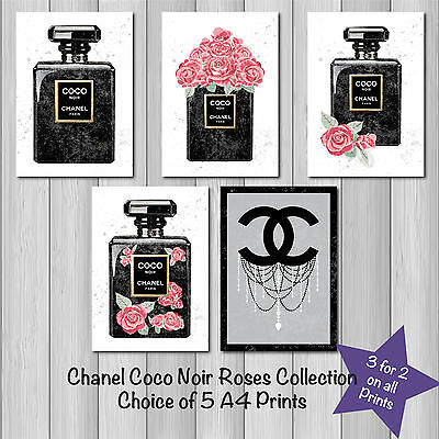 Chanel Coco Noir Perfume & Roses Fashion Collection A4 Sketch  Prints