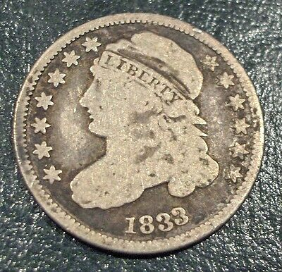 1833 10 Cent Capped Bust USA Silver Dime Free Shipping