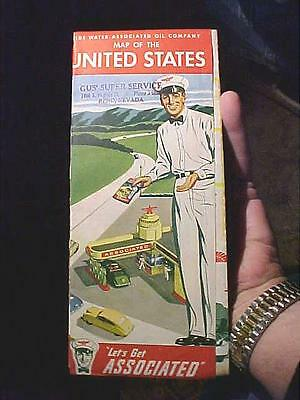 1940's Tide Water Associated Flying A Gas USA Map SURREALISTIC Attendant  $9.99