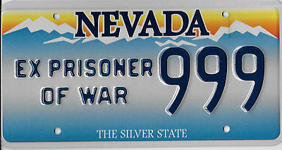 Authentic Nevada Ex Prisoner Of War Pow License Plate # 999 Mint Mint Thank You