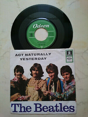 THE BEATLES Act Naturally / Yesterday*FAMOUS 60s GERMAN HIPPIE COVER*GREEN ODEON
