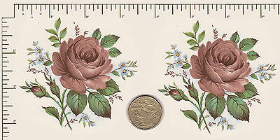 """2 x Ceramic decals. Decoupage Roses Flowers Floral  Approx. 3 1/4"""" x 3 1/4""""  #1"""