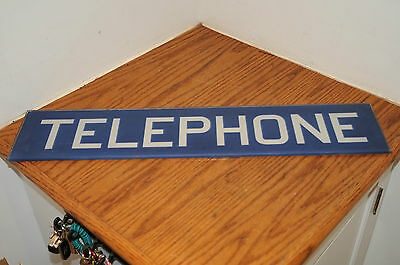 Original Vintage Glass Telephone Booth Insert Panel Sign Telephone Utilities Org