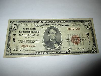 $5 1929 Hackensack New Jersey NJ National Currency Bank Note Bill Ch #12014 FINE
