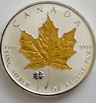 2016 1oz.999  Canadian  Maple Leaf Clover Privy gold gilded Silver Coin