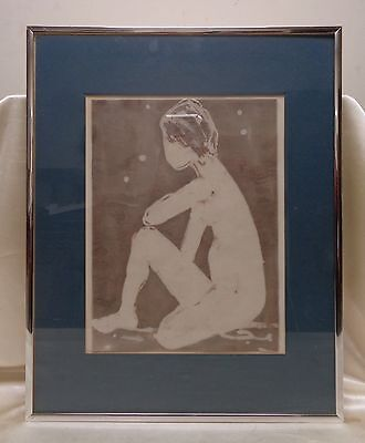 Estate Found Vintage Sitting Abstract Figure Art on Fabric (Matted & Framed)