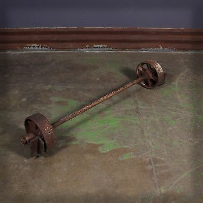 Vintage Industrial Cast Iron Caster Wheels and Axle Nutting Lineberry
