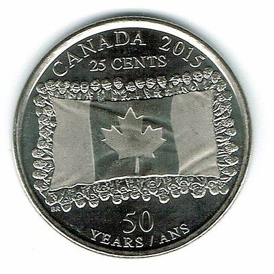 2015 Canadian Brilliant Uncirculated Commemorative flag Twenty Five Cent coin!