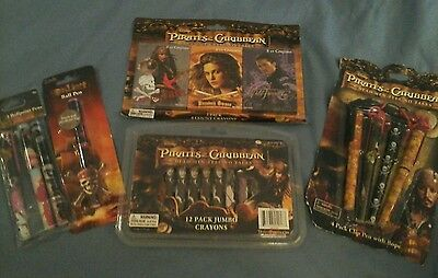 NEW Lot Pirates of the Caribbean Stationary Items Crayons & Pens