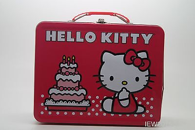 Hello Kitty Metal / Tin Pink Birthday Cake Lunch BoxAnd Accessories USED