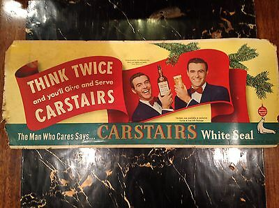 """Vintage 28"""" X 11"""" Cardboard Poster Advertisement """"CARSTAIRS-WHITE  SEAL WHISKEY"""""""