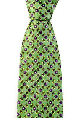 "Men's BRIONI Green Woven Floral Geometric Pattern 3.25"" Silk Neck Tie NWT"