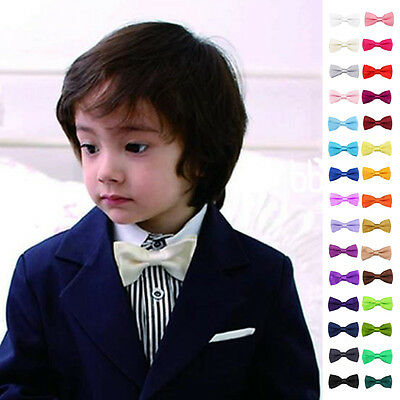 Childrens Boys Girls Bow Tie For Wedding Suits Party Fancy Dresses Plain Necktie