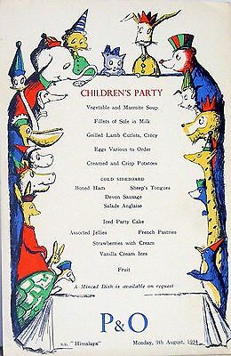 P & O Ships Menus S.s. Iberia Lot Of 6 - 2 Childrens Party ,4 Luncheon 1954