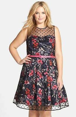 NEW ELIZA Floral Fit & Flare with Dot Mesh Overlay DRESS PLUS SIZE 18W $188