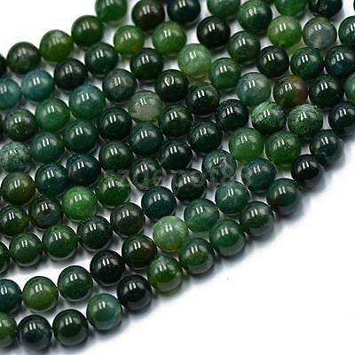 8mm Nature Green Moss Agate Gemstone Round Loose Spacers Beads Strand 15""