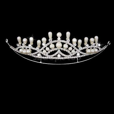Crystal Diamante Pageant Crown Wedding Party Prom Pearl Headband Veil Tiara