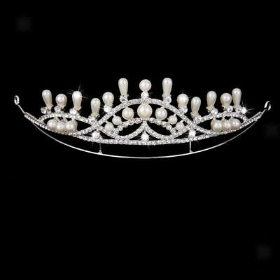 Wedding Bridal Crown Rhinestone Crystal Pearl Headband Tiara Jewelry Silver