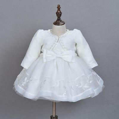 Luxury Embroidery Lace Christening Gown Baby Girl Baptism Dress with Over Coat