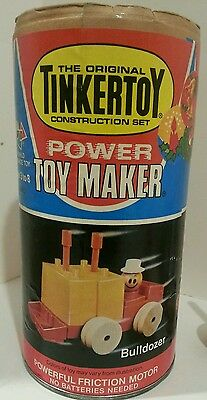 Vintage 1978 Tinkertoy Toy Maker #5417 Friction Motor Wood Plastic Directions