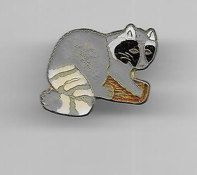 Vintage Gray Raccoon old enamel pin