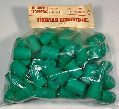 Neoprene Size 2 Solid Rubber Stopper Green 1lb NOS LOT