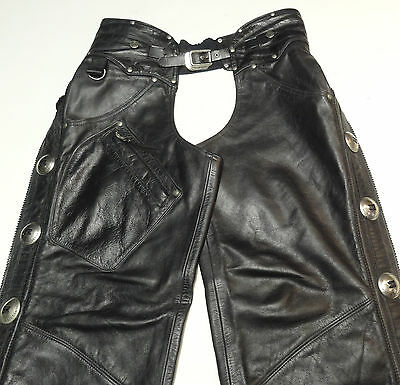 Harley Davidson Heritage Black Leather Concho Chaps Medium 33-36 *made Usa* 261